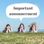 【Important announcement】